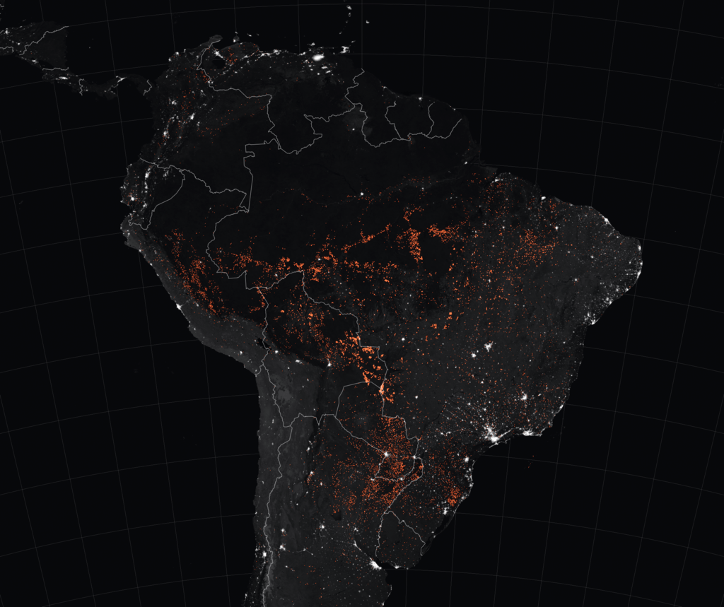 A satellite map showing the extent of the Amazon fires in August 2019