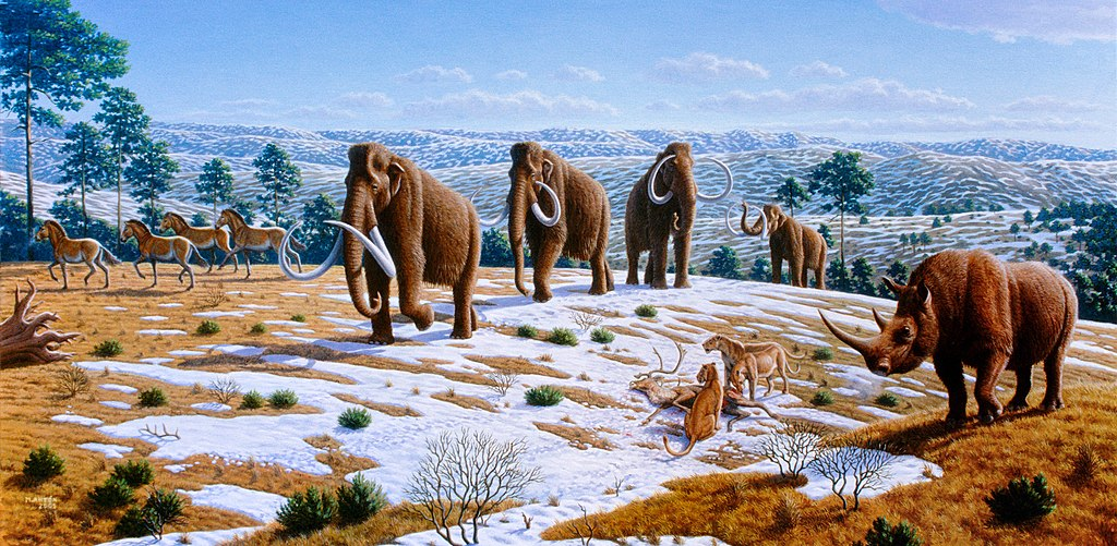 A painting of early casualties of the Sixth Extinction: woolly mammoths, woolly rhinos, horses and cave lions during the Ice Age