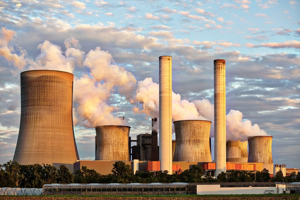 Factories emitting gases such as carbon dioxide.