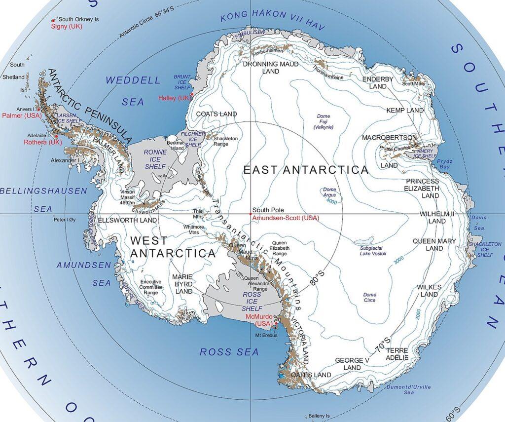 A map of Antarctica