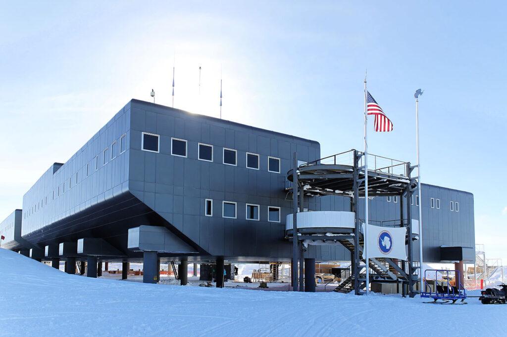 The Amundsen-Scott South Pole Station at the South Pole