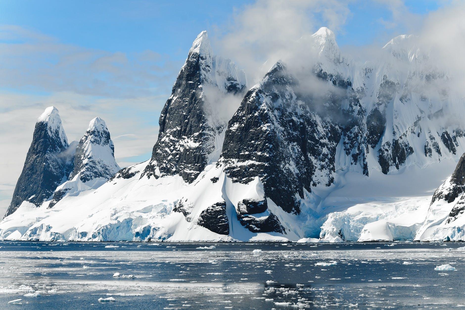 Glacier meeting the sea in Antarctica