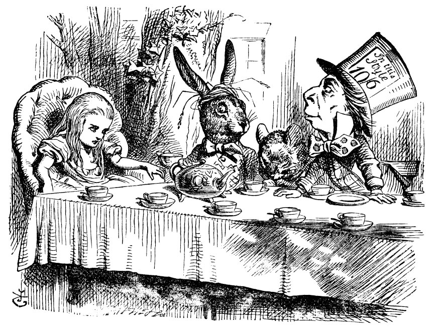 An illustration of the Mad Hatter's tea party from Lewis Caroll's Alice's Adventures in Wonderland